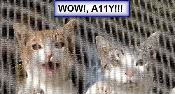 Two cats with the heading: WOW!, A11Y!;