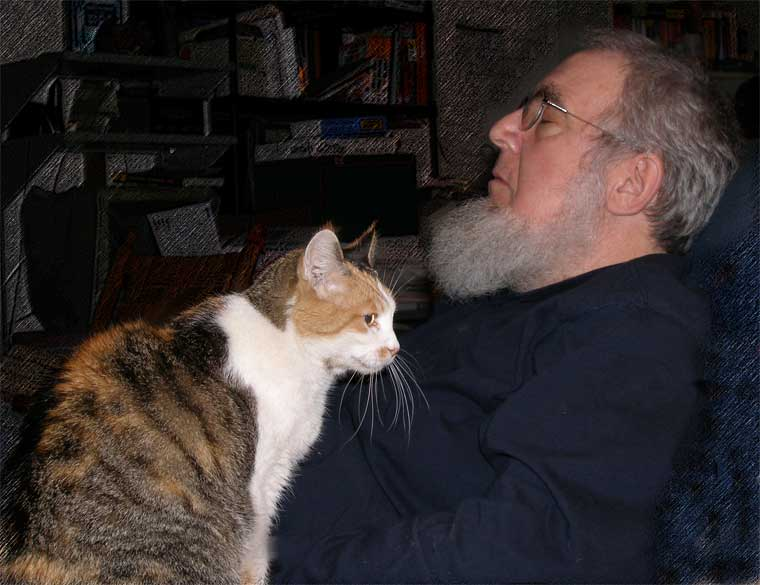 David J. Hark and Nafta, the cat. David is the one with whiskers on the right .